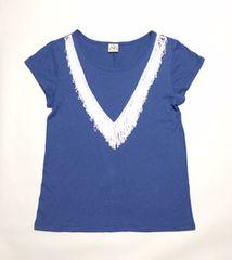☆アクアガールag白Vフリンジブルー半袖Tシャツ(M)新品
