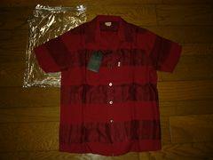 新品COOTIEクーティーレーヨンシャツS赤ボーダージャガード