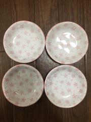 ピンクのホワイト小皿 豆皿 醤油皿 4枚セット