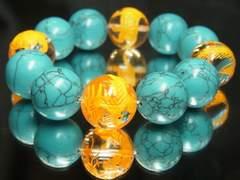 大玉18mm!!金彫四神獣水晶×ターコイズ数珠ブレスレット