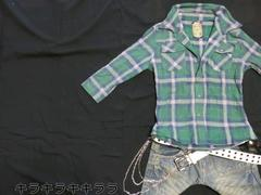 ●MIDAS●襟ワイヤー★ロールup*5分袖チェック柄シャツグリーンL