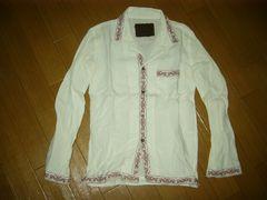 バックボーンBACKBONEチロリアンシャツM白ステッチ刺繍定価4万