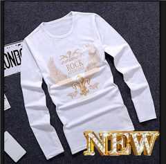 XL白*激安価格*春秋最新作*ゴールドラバー印字スリム長袖Tシャツ