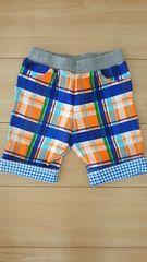 ホットビスケッツ ミキハウス ハーフパンツ サイズ100 カラフルチェック柄 オレンジ×青