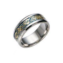 超お買い時500円★ドラゴンデザイン指輪 メンズ ステンレス8号