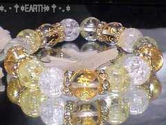 天然石★12ミリ守本尊七字一体彫梵字水晶クラック&カラークラック水晶数珠