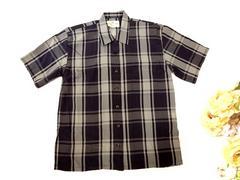 新品 mount hopミセス 紺 チェック 半袖 シャツ ブラウス