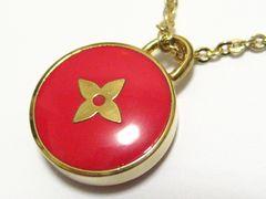 ルイ.ヴィトン.一番人気鮮やか赤レッドLVロゴ&ゴールドカラー洒落た最高ネックレス