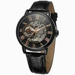腕時計 メンズ腕時計 手巻き式 革ベルト 人気 スケルトン