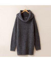 ★ダークグレー暖かオフタートル長袖ニットチュニックセーター