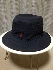 ポロラルフローレン バケットハット コットン帽子 Sサイズ 黒 アメリカ製 RRL ユーズド加工