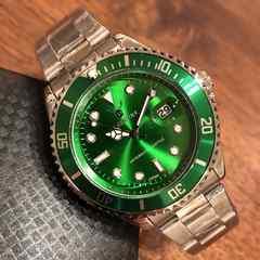 最安値!ロレックス・サブマリーナタイプ◇クォーツ メタル腕時計・グリーン×シルバー
