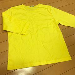 新品 鮮やかイエロー  七分袖カットソー M〜L 黄色 日本製