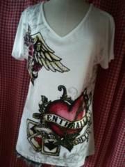 3L新品大きいサイズハートストーンVネックTシャツ白