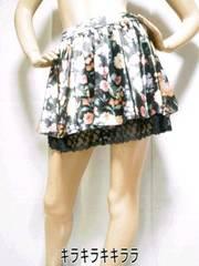 ■CECIL McBEE./セシルマクビー裾レース★サテン*花柄スカートブラックM