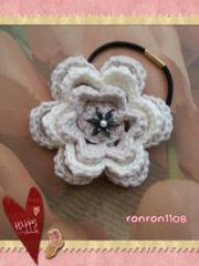 ハンドメイド/手編み♪コットン編みお花のヘアゴム 2-121