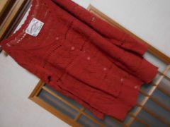 オリーブデオリーブ*七分袖かぎあみ赤カーデ☆クリックポスト164円