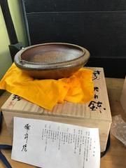 目澤孝氏の片口鉢。見事。共箱、在銘、ウコン布、陶歴付です。