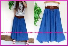 夏新作◆大きいサイズ4Lデニムカラー◆ウエストベルト風ロングスカート