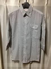 チャオパニック ストライプ柄 長袖七分袖シャツ Sサイズ細身 白色×黒色 日本製