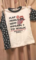 新品ドクロ&ローリングストーンズフリル付ロンT120シャツ