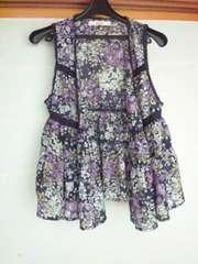 shuca 紫×黒 花柄 羽織 ノースリ フリーサイズ 前あき N2m