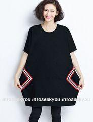 LL大きいサイズ/◆赤白テープラインぷっくりチュニックワンピ