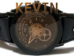 【新品/未使用】KEVIN WATCH 歯車が可愛いレザーベルト腕時計