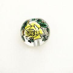 24*�@スタ*14mmガラス転写ビーズ*クリアに黄色薔薇*13