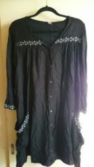 ■超美品春物Shanti2黒刺繍デザイン両脇ポケットワンピ■
