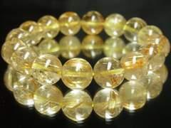 高級天然石!!ゴールドタイチンルチル12mm数珠ブレスレット!!ハイクォリティー