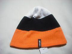 mb772 男 RIP CURLリップカール ニット帽 裏フリース 橙黒白