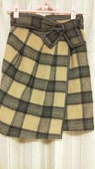 雑誌掲載 新品*リボン チェックタイトスカート*