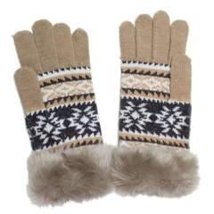 スマホ手袋★北欧★ノルディック 雪の結晶柄★BEIGE◆新品タグ付