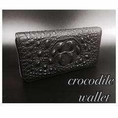 長財布 高品質レザー クロコダイル 札 小銭 カード入れ  黒