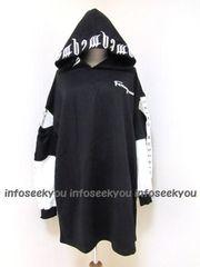 LL3L大きいサイズ/ロゴ刺繍フード〜袖開きロゴパーカー/黒