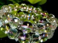 64面カット水晶§ピンクオーラ12ミリ数珠