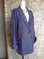 値下げ!新品送料無料15号〜13号位LL麻100%ジャケット青紫色