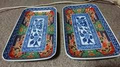 鍋島→魯山窯…金蘭手染付長方形皿→2枚
