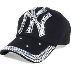 帽子♪ビジュー×ストーン NY ニューヨーク キャップ ブラック