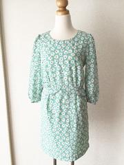 [Rope picnic]★八分袖ワンピース・緑色×花柄・サイズ[38]★