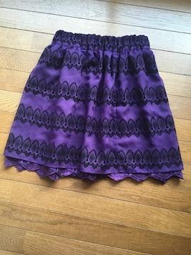 axes風フロッキープリント バイオレット紫 スカート grove M N2m