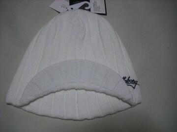 mb123 男 BILLABONG ビラボン 白 つば付き ニット帽
