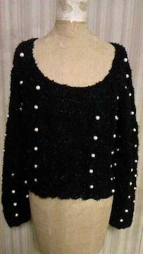 lily brown・リリーブラウンパール付き&モヘア混ニットセーターショート丈トップス黒