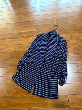 【サイズXL】UNIQLO◆細見えボーダー◆春夏ロングジャケット
