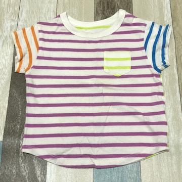 ∂+/ユニクロbaby カラフルボーダーTシャツ 80