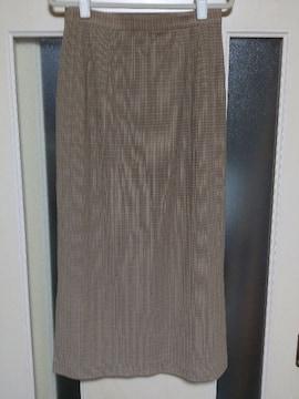 超美品♪ロングタイトスカート・L表記《ベージュ×茶チェック柄》