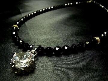 大粒CZダイヤ×ダイヤカットオニキスネックレス お洒落に輝くパワーストーン