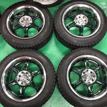 0082821キッズレ-シング緑6.5J+35国産スタッドレスタイヤセット175/65R15送料無料