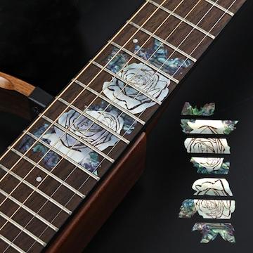 ギター指板フレットボードインレイステッカー【2本の薔薇】
